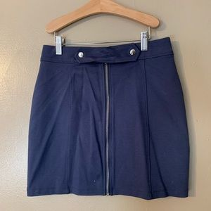 Purple zip front mini skirt